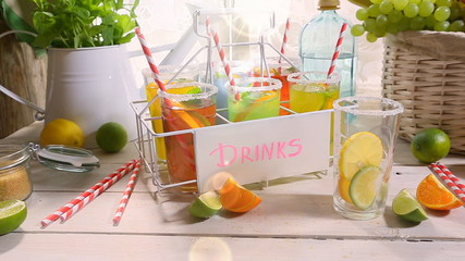 Refreshing lemonade with fresh fruits in summer