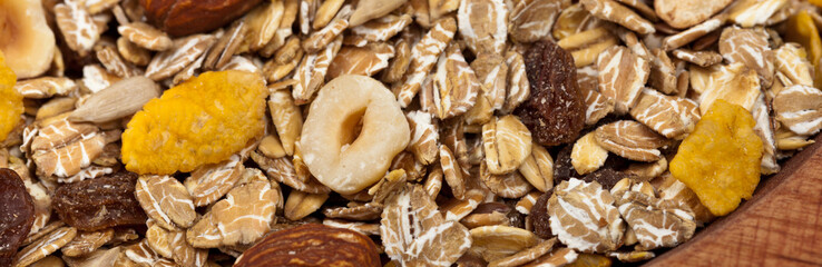 Healthy Cereal. Panoramic image. Selective focus.