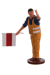 Miniature of construction worker isolated on white background