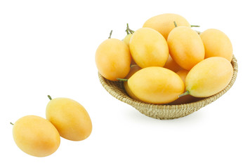 Sweet Marian plum fruit in basket on white background(Mayongchid