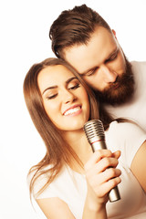 Lovely couple with microphone