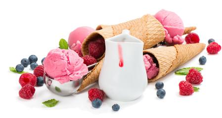 concept with berry ice cream