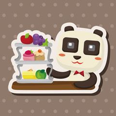 animal panda having afternoon tea theme elements