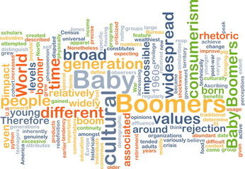 Baby boomers wordcloud concept illustration