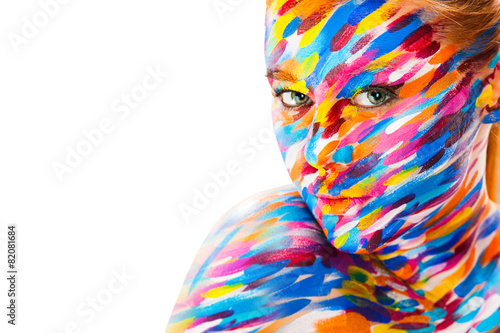 Portrait of the bright beautiful girl with art colorful make-up - 82081684