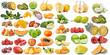 set of fruit isolated on white background