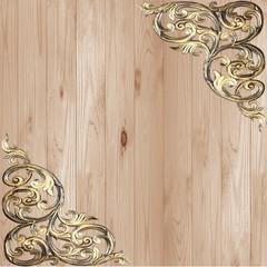 Pattern of flower carved golden frame on white background