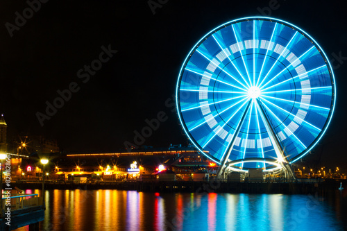 Ferris Wheel in Night, Waterfront - 82082866