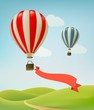 Hot air balloons in the sky. Vector. - 82083204
