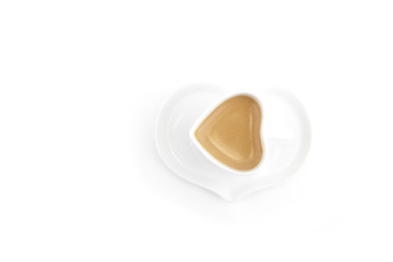 Heart Shape Cup of Coffee on White Background