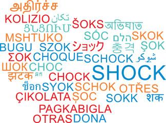 Shock multilanguage wordcloud background concept