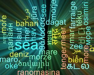 Sea multilanguage wordcloud background concept glowing