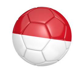 Soccer ball, or football, with the country flag of Indonesia