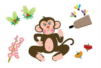 サルのイラスト2016申年の干支の猿の年賀状素材