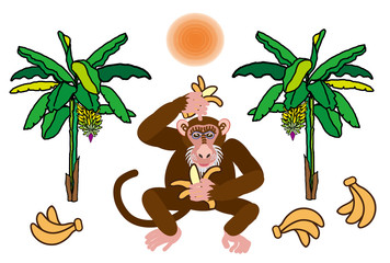 サルとバナナの木のイラスト2016年の干支の猿の年賀状素材