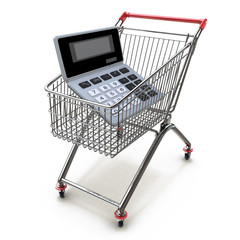 Calculator in shopping trolley cart isolated on white.Financial
