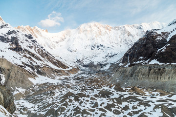 Mountain peaks and valley at Annapurna base camp, Nepal
