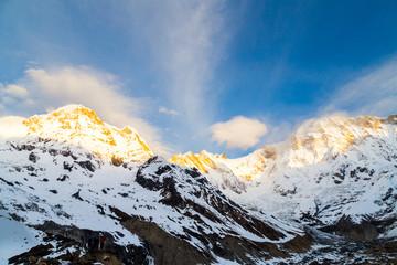 Sunrise at Annapurna South Peak from Annapurna Base Camp, Nepal
