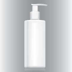 Bottle with white pump valve cream, gel, liquid, cosmetics.