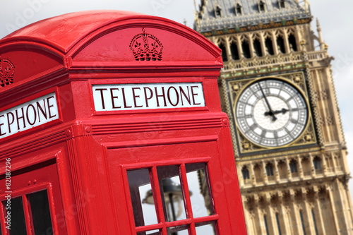 Papiers peints Londres Telephone box with Big Ben