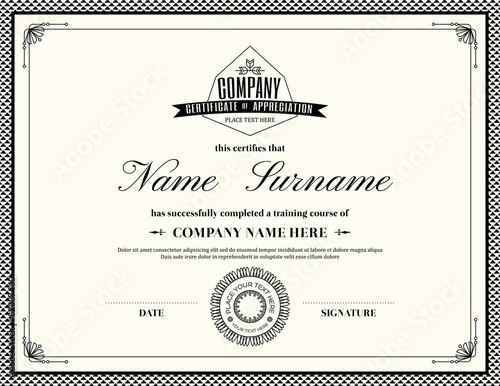 Certificate Template Ai Retro Frame Certificate Of Appreciation Template