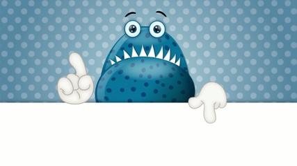 Funny Monster Cartoon Character Illustration blue