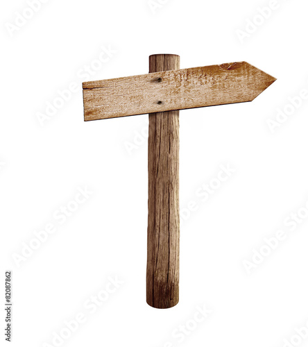 old wood right arrow road arrow sign isolated