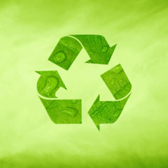 Creative modern green recycle symbol