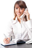 Young businesswoman with phone, on white