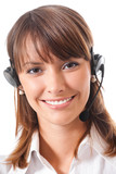 Female support phone operator, over white