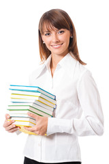 Portrait of woman with textbooks, on white