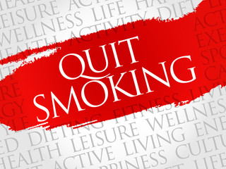 Quit Smoking word cloud, health concept