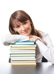 Young woman with textbooks, on white