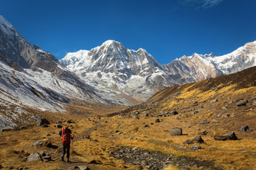 Trekking to Annapurna Base Camp with Annapurna I in a background