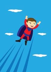 Flying Super Boy Vector Cartoon Illustration