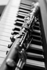 Fragment of a clarinet lying on piano keys