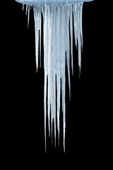 Ice icicles on a black background