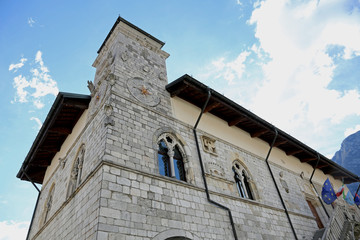 Town Hall of the town of VENZONE in Northern Italy reconstructed
