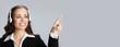 Leinwanddruck Bild - Support phone operator pointing on copyspace
