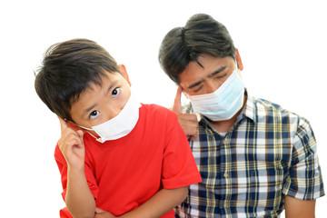 風邪に罹患した親子