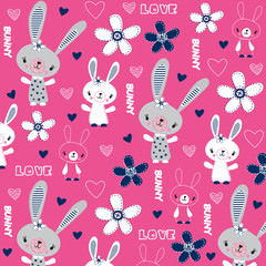 cute childish pattern with bunny and flowers vector illustration