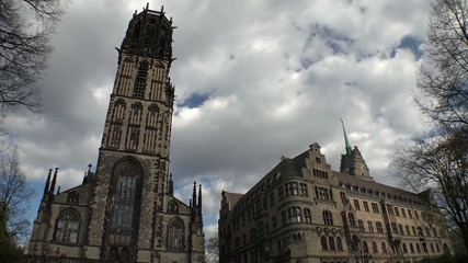 Timelapse Salvator church and City hall - Duisburg - Germany