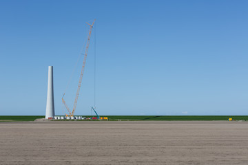 Construction new wind turbine in The Netherlands
