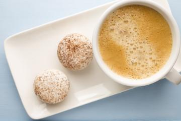 Coffee and macaroons.