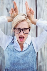 Pretty blonde woman having fun