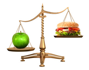 Hamburger and apple on scales diet healthy food concept