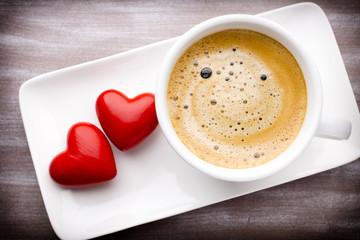 Coffee and heart.