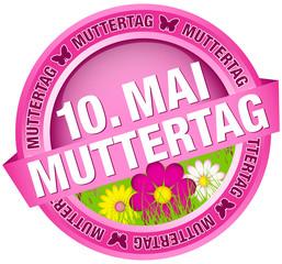 """Button Banner Blumen """"10. Mai Muttertag"""" pink"""