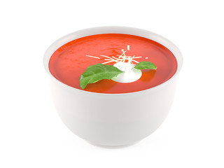 Cream soup in ceramic bowl isolated