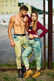 beautiful couple woman  and handsome man oudoors